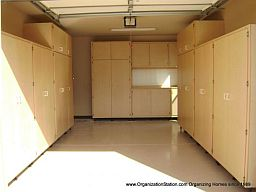 wrap around all 3 walls using various combination of different garage cabinet sizes